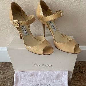 Jimmy Choo Nude Patent Pep Toe Heels